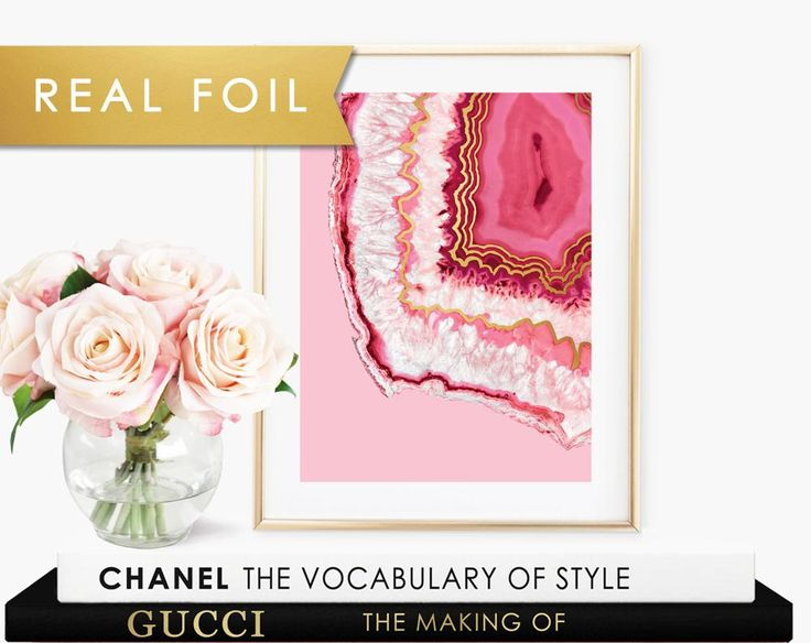 Pink Crystal Agate on Pink Background- Gold Foil Wall Art