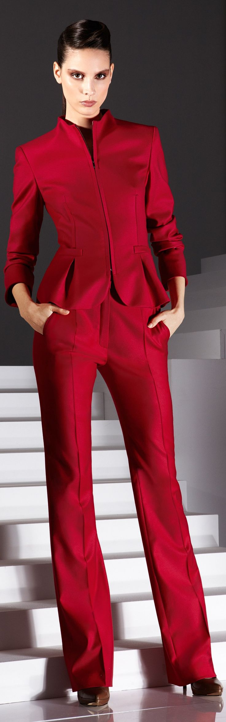 An alternative look for this beautiful Escada red suit is to couple it with a Classic Black & White V Square, CHECK IT OUT @SCARF-ART.COM!