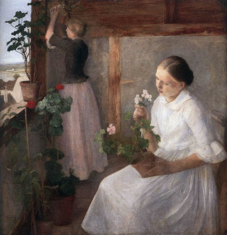Karoly Ferenczy Girls Tending the Plants, 1889