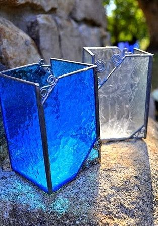 Stained glass candleholders by IBGCreativeDesign on Etsy