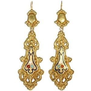 Georgian or early victorian long pendant earrings with enamel made in belgium (ca.1830)
