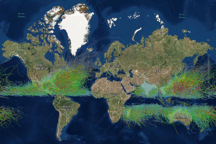 Historical Hurricane Tracks (1842 - 2016) - Vivid Maps