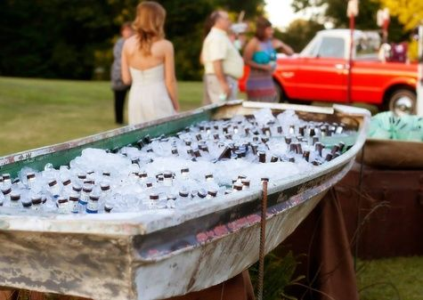 Fishing Wedding Inspiration - Repurposed Fishing Boat Drink Cooler | Bob Smith and Melanie Thortis | TheKnot.com