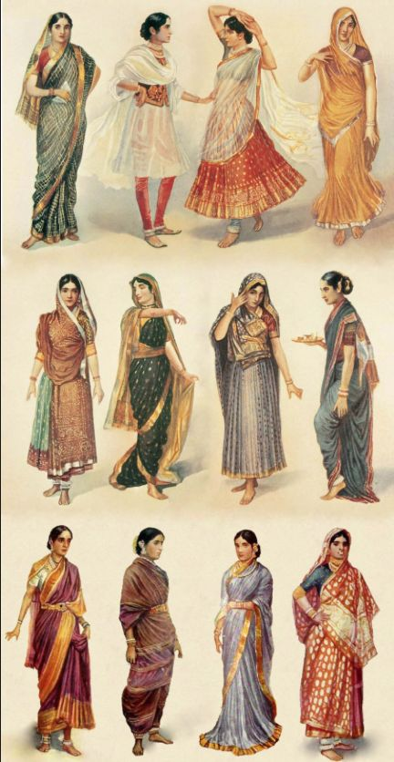Indian sari, the word is derived from sanskrit and means: a strip of cloth. This is the general attire for women, which can be styled/draped in many different ways.