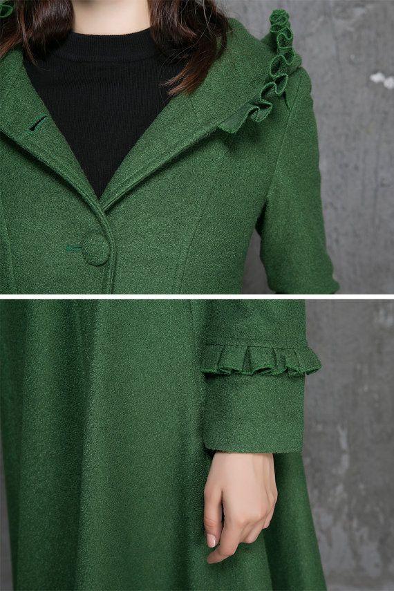 Womens Coats Winter Coat Emerald Green coatfit and flare