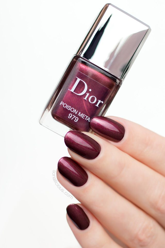 Dark Red Nails Dior Poison Metal Review