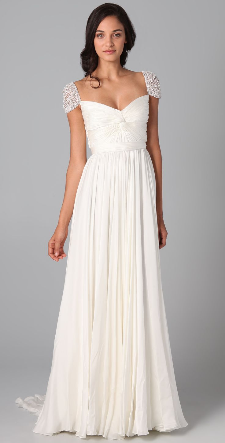 A-line Chiffon Square Natural Waist Sweep/Brush Train V-back Cap sleeve Beading Ruching Prom Dress