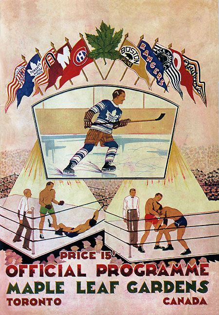 Toronto Maple Leafs program from the first game at Maple Leaf Gardens, November 12, 1931.