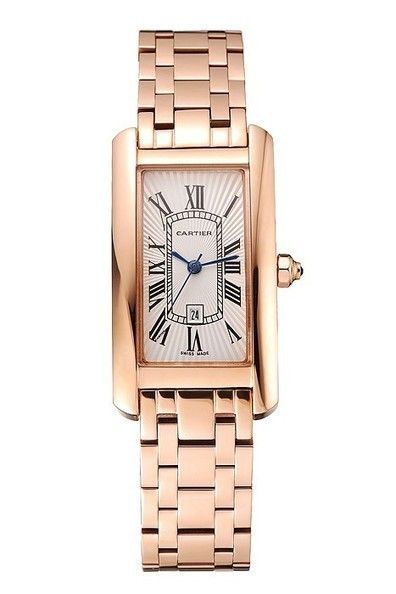 Replica Cartier Tank Americaine White Dial Watch With Rose Gold Case And Bracelet