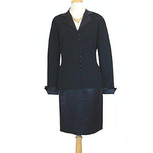 NWT $270 Adrienne Vittadini Black Vintage 1980s Jacket & Skirt Dress Suit #AdrienneVittadini