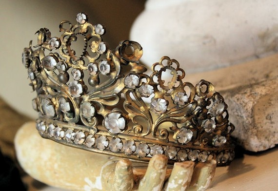 Late 1800s Rare French Jeweled Crown Gorgeous Patina
