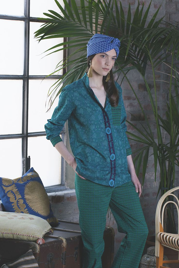 hippie chic in Peacock Green Pajama
