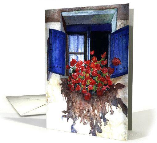 Geraniums in window, Christian happy birthday card, Irish Blessing card