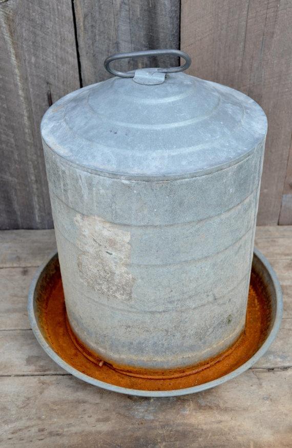 Chicken Waterer Feeder Galvanized Metal Farmhouse Rustic