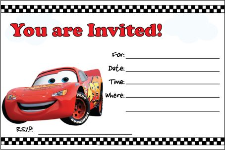 Free Printable Cars Invitation