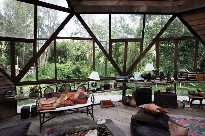 This globe house is made out of mainly reclaimed materials and although situated in a forest the large windows allow for plenty of natural light to enter the home.