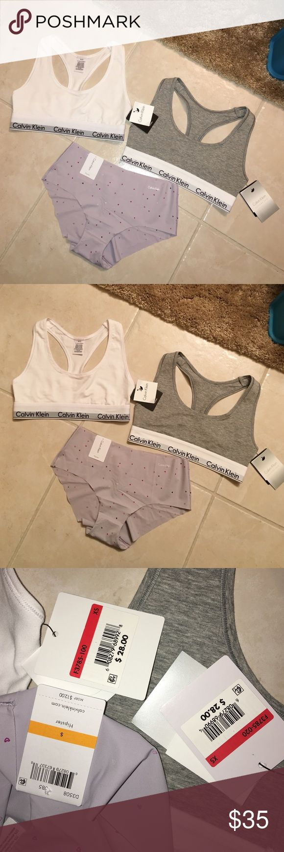 Brand New Calvin Klein Bralette and Underwear Brand new and never worn Calvin Klein 2 Bralettes and 1 purple/grayish hipster underwear! New with tags and authentic perfect and really cozy to sleep in in absolute perfect condition and quality. Taking reasonable offers(: Calvin Klein Intimates & Sleepwear Bras
