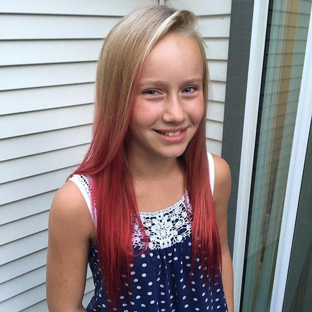 Red balayage on my sister. Started grade 8 today! Time goes by way too fast  #balayage #redbalayage #sister #hairstylist #okanagan #joico #colourintensity #blonde #kelownanow #kelowna #backtoschool
