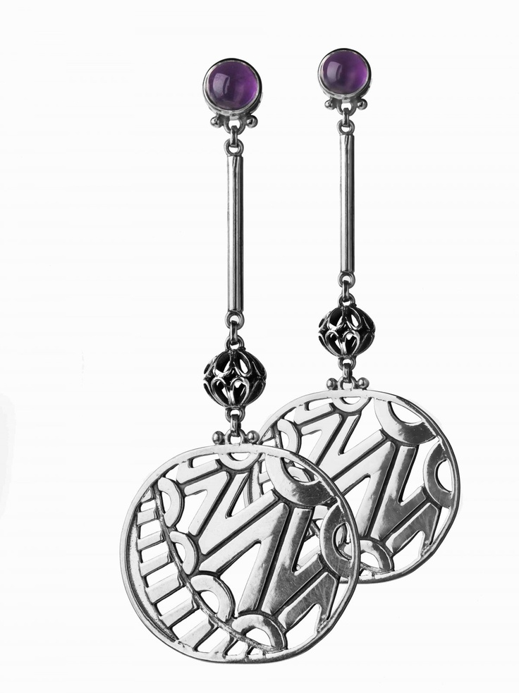 Sterling Silver earrings with semi-precious stones, inspired by Tribal trends and African geometric muses.  #azzafahmy #jewellery #jewelery