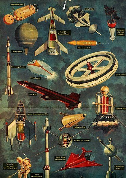 1950s-era designed spacecraft -- some flew, some didn't.  My bedroom wallpaper was drawn from this.