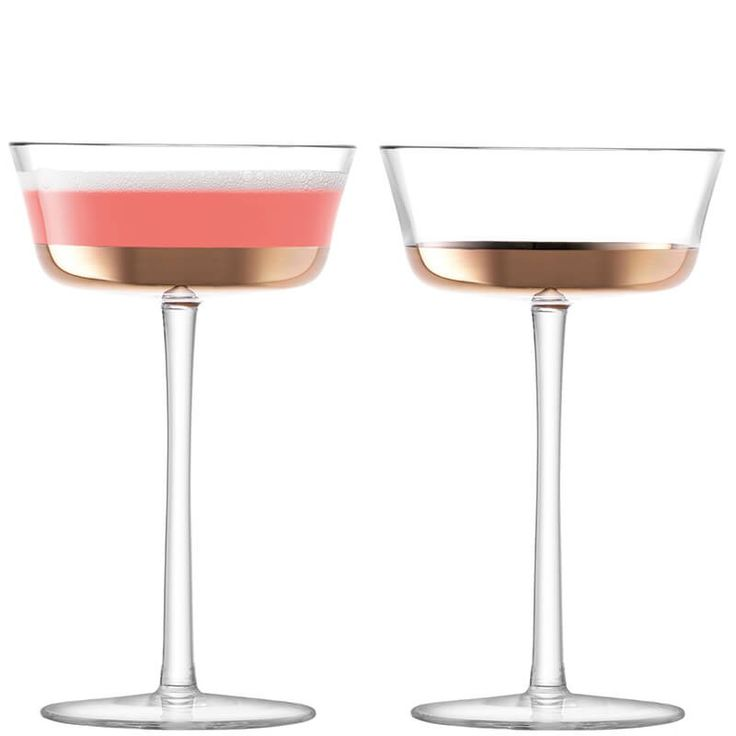 Edge Champagne Saucer 210ml, Rose Gold x 2 by LSA at Dotmaison