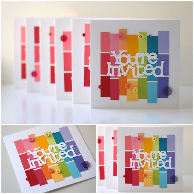 Fun idea for invitations | Rainbow Themed Party! | BrightNest | Paint Chip Projects for Color Lovers
