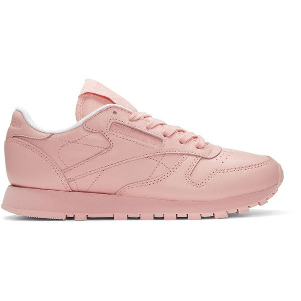 Reebok Classics Pink Classic Leather Pastels Sneakers (4,065 INR) ❤ liked on Polyvore featuring shoes, sneakers, pink, leather lace up shoes, pastel sneakers, perforated sneakers, lace up shoes and leather low top sneakers