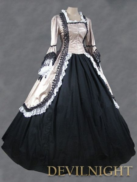 Victorian Tea Gowns | Champagne and Black Marie Antoinette Victorian Ball Gowns