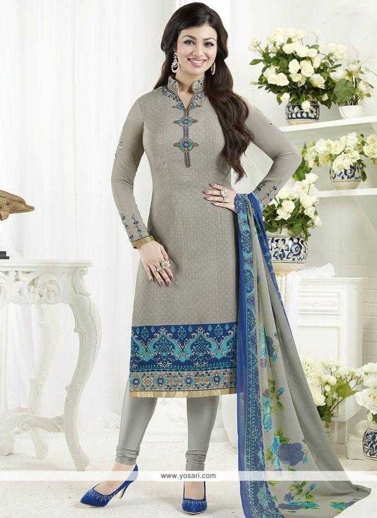 Ayesha Takia Grey Embroidered Work Churidar Designer Suit