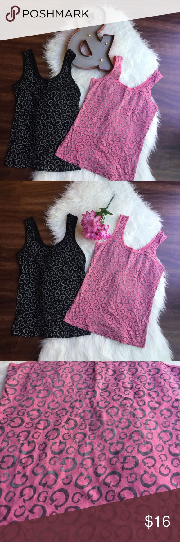 Both Guess Tanks: Small & Medium 2️⃣ Guess tanks, black is size small, pink is size medium. Both 💯% cotton. Great under Blazers or cardigans. Guess Tops Tank Tops