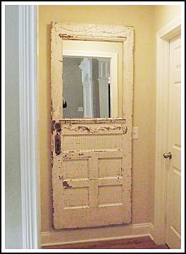 Mirror added to old door. Add hooks and attach bench to put next to front door.