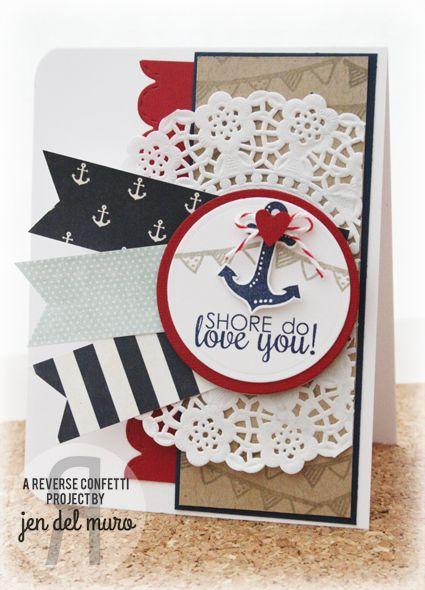 Feminine nautical anchor card happy harbor by reverse confetti