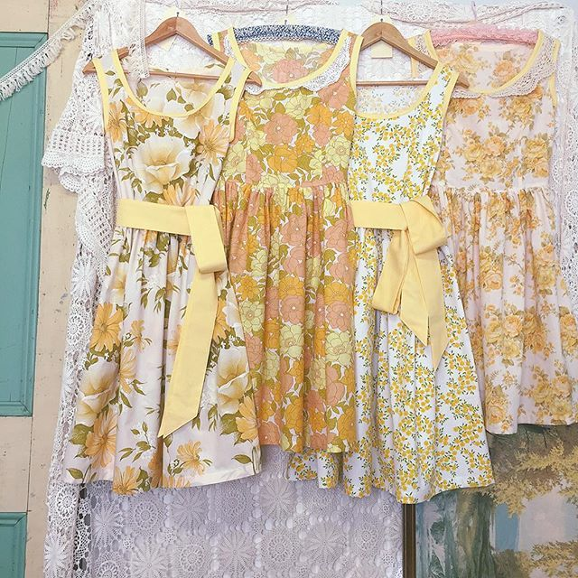 """""""Maids in waiting... for Thea's wedding  #vintagewedding #vintagefabric #vintagelove #bridesmaids #vintagefloral #weddingstyle #yellow #beautiful #handmade #summerfolk #summertime #sewing #madeinaustralia #countrywedding #countrystyle"""""""
