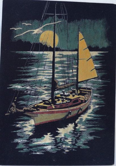 Vintage Paint By Numbers Sailing by the Light of the Moon with Seagulls Black Velvet Painting by Retrorrific on Etsy