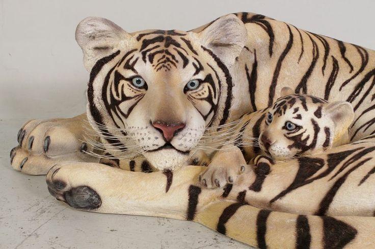 Tiger White Siberian Statue Tigress w Cub Jungle Tiger New LIFE SIZE Statue Wild