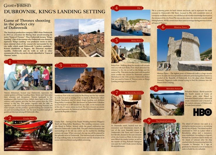 game of thrones filming locations dubrovnik pdf