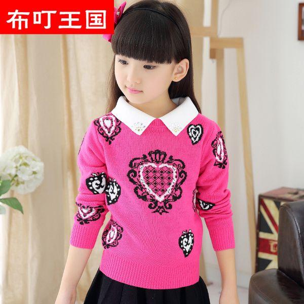 Детский трикотаж из Китая :: Дети девочек джемпера с Юань Тун принесли двух зимних, пуловеры трикотажные детей диких хлопковые рубашки в конце прилива.