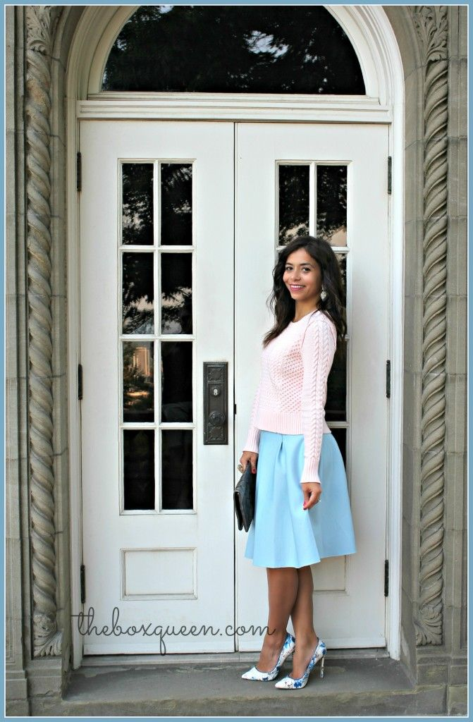 FALL FASHION INSPIRED BY INSTYLE MAGAZINE – FULL SKIRT & KNITS | The Box Queen #nordstrom #fallstyle #winterpastels