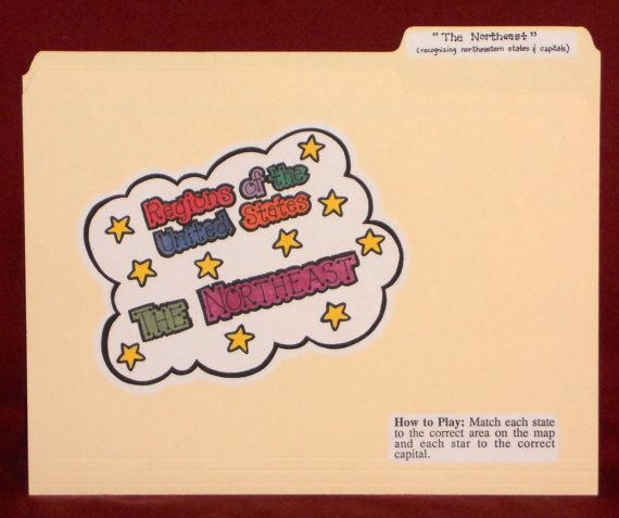 The Northeast Regions Of U S File Folder Game Ready To Play No Digital Downloading