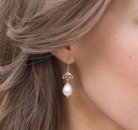 Natural Pearl earrings, Freshwater pearl drop earrings, bridal jewelry, sterling silver, LOTUS EARRINGS, Real pearl earrings