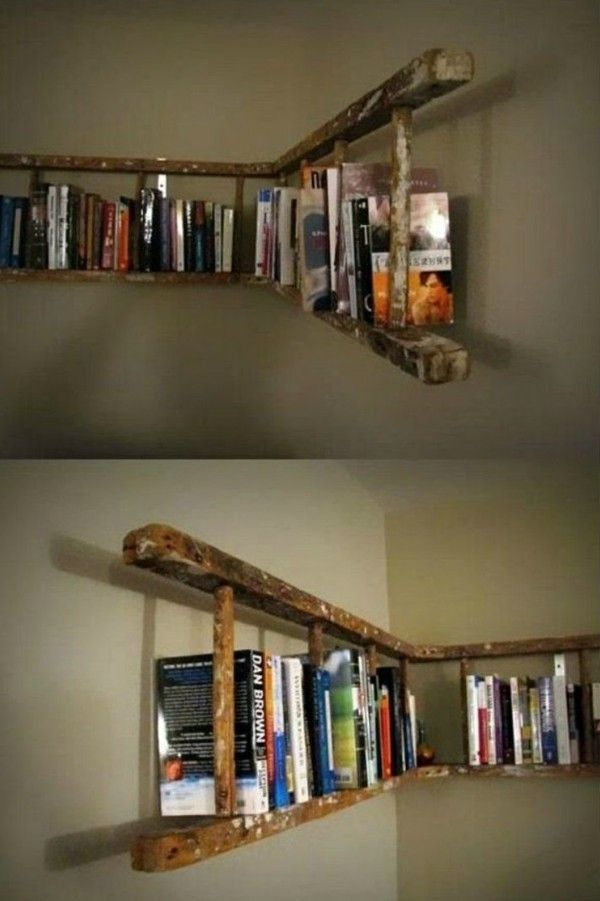 Restore the old wooden ladder creatively in the house