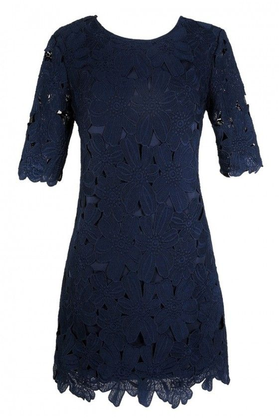 Navy Lace Dress, Cute Lace Dress, Cute Navy Dress, Navy Floral Lace Sheath Dress, Navy Lace Sheath Dress, Navy Crochet Lace Dress