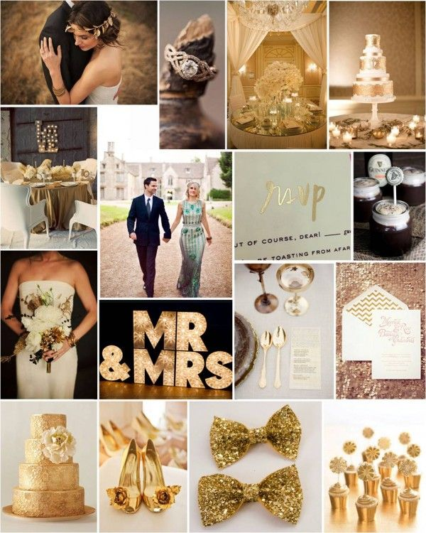 lush Gold Wedding ... Get gold bow ties for the reception.