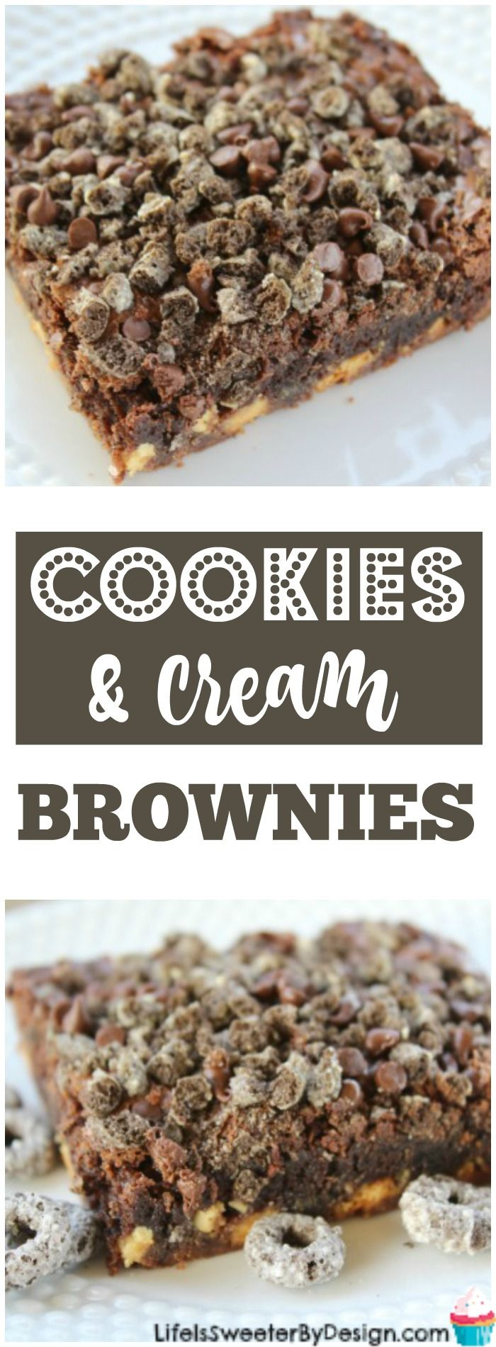 Cookies and Cream Brownies are easy to make with a boxed brownie mix. Full of white chocolate chips, mini chocolate chips and cookies and cream cereal these brownies are delicious! #CerealShakeup #CerealAnytime #ad