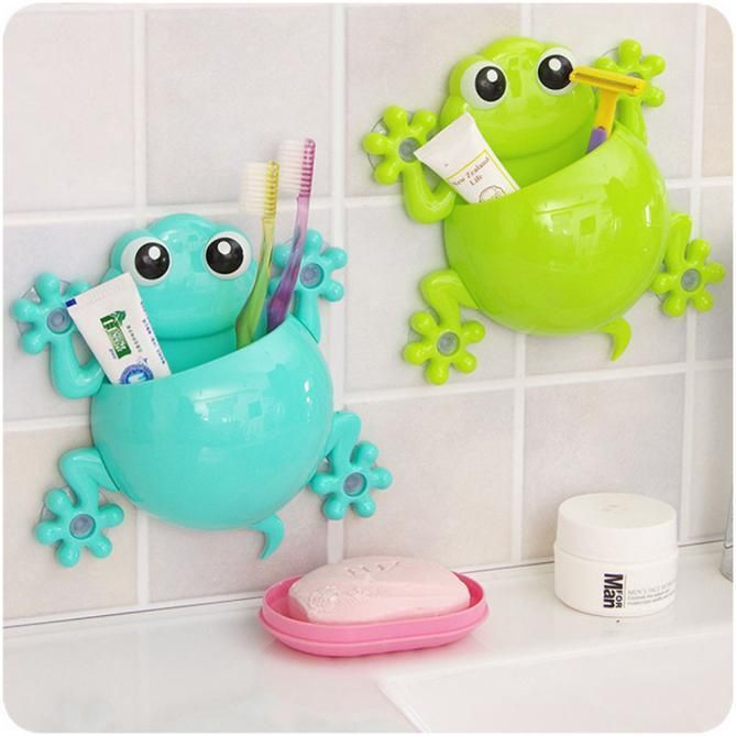 Fashion Cartoon Gecko Toothpaste Holder Wall Sucker Hook Tooth Brush Holder