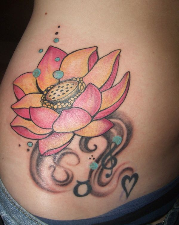 Side Stomach Tattoos | Side Stomach Lotus Tattoo Design | ShePlanet