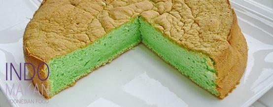 Kue Putih Telor - Airy green cake with pandan taste