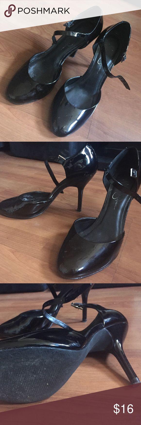 Black patent Jessica Simpson heels Black patent Jessica Simpson heels, with a strap, comfortable, good condition Jessica Simpson Shoes Heels