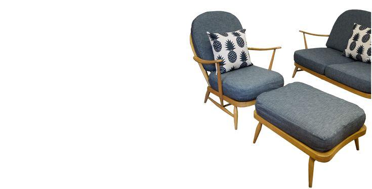 fauteuil  et ottoman Ercol, mobilier anglais, chaise vintage, chaise Ercol, canapé barreaux, canapé Ercol, canapé vintage, canapé scandinave, fauteuil scandinave