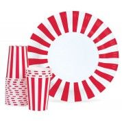 Paper Eskimo Candy Cane Plates, perfect for Canada Day celebrations.  Find them at www.partystock.ca